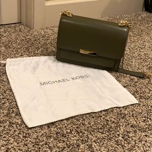 Navy green Michael Kors crossbody with gold chain